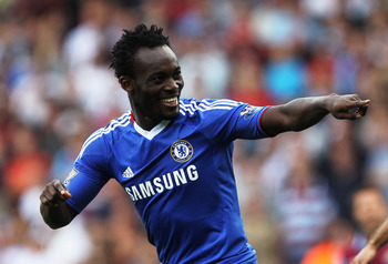 LONDON, ENGLAND - SEPTEMBER 11:  Michael Essien of Chelsea as he scores their first goal during the Barclays Premier League match between West Ham United and Chelsea at the Boleyn Ground on September 11, 2010 in London, England.  (Photo by Hamish Blair/Ge