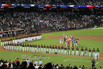 PHOENIX, AZ - JULY 10:  A general view of pregame ceremonies prior to the 2011 XM All-Star Futures Game at Chase Field on July 10, 2011 in Phoenix, Arizona.  (Photo by Christian Petersen/Getty Images)