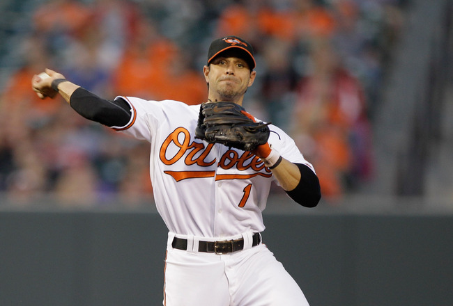 BALTIMORE, MD - MAY 12:  Second baseman Brian Roberts #1 of the Baltimore Orioles in action against the Seattle Mariners at Oriole Park at Camden Yards on May 12, 2011 in Baltimore, Maryland.  (Photo by Rob Carr/Getty Images)