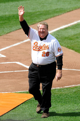 BALTIMORE - APRIL 09:  Boog Powell waves to the crowd after throwing out the first pitch before the game between the Baltimore Orioles and the Toronto Blue Jays on Opening Day at Camden Yards on April 9, 2010 in Baltimore, Maryland.  (Photo by Greg Fiume/
