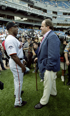 CHICAGO - JULY 15:  National League designated hitter Barry Bonds #25 from the San Francisco Giants speaks with ESPN commentator Chris Berman before the 74th Major League Baseball All-Star Game against the American League on July 15, 2003 at U.S. Cellular
