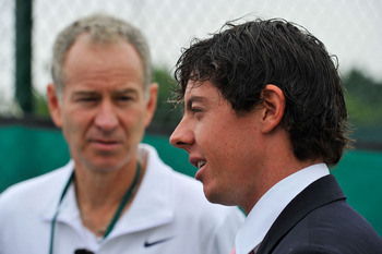 LONDON, ENGLAND - JUNE 28:  Golfer Rory McIlroy (R) meets tennis player John McEnroe  on Day Eight of the Wimbledon Lawn Tennis Championships at the All England Lawn Tennis and Croquet Club on June 28, 2011 in London, England.  (Photo by Toby Melville/Poo