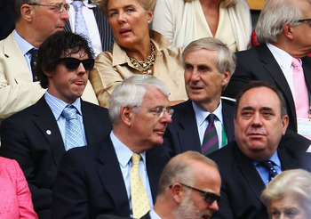 LONDON, ENGLAND - JULY 03:  (L-R) Golfer Rory McIlroy, Sir John Major, Tim Phillips and Alex Salmond, First Minister of Scotland attend the final round Gentlemen's match between Rafael Nadal of Spain and Novak Djokovic of Serbia on Day Thirteen of the Wim