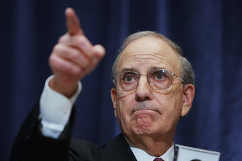 George Mitchell. Is he pointing towards Alex Rodriguez?