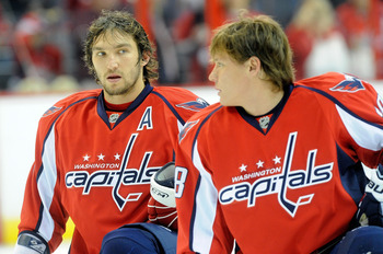 WASHINGTON - NOVEMBER 01:  Alex Ovechkin #8 (L) and Alexander Semin #28 of the Washington Capitals talk before the game against the Columbus Blue Jackets at the Verizon Center on November 1, 2009 in Washington, DC.  (Photo by Greg Fiume/Getty Images)