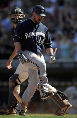 MINNEAPOLIS, MN - JULY 3: Casey McGehee #14 of the Milwaukee Brewers snaps his bat after striking out for the final out of the game against the Minnesota Twins on July 3, 2011 at Target Field in Minneapolis, Minnesota. The Twins defeated the Brewers 9-7.