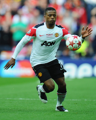 LONDON, ENGLAND - MAY 28:  Patrice Evra of Manchester United in action during the UEFA Champions League final between FC Barcelona and Manchester United FC at Wembley Stadium on May 28, 2011 in London, England.  (Photo by Clive Mason/Getty Images)