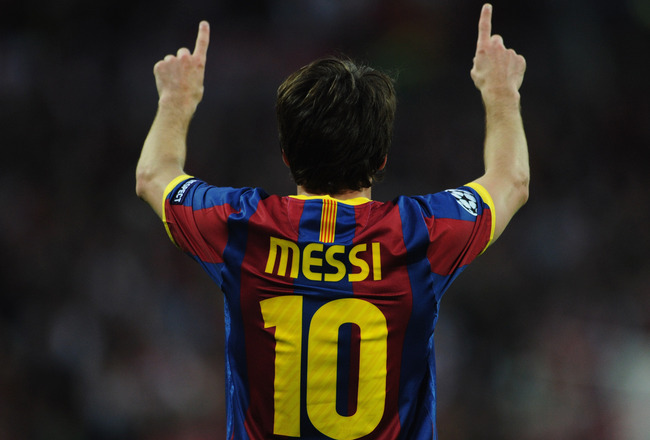 LONDON, ENGLAND - MAY 28:  Lionel Messi of FC Barcelona celebrates scoring their second goal during the UEFA Champions League final between FC Barcelona and Manchester United FC at Wembley Stadium on May 28, 2011 in London, England.  (Photo by Jasper Juin