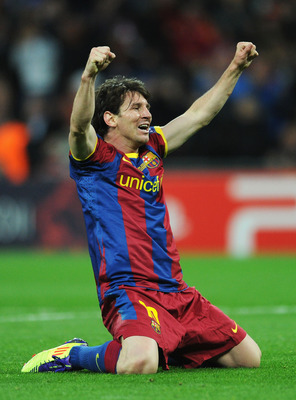 LONDON, ENGLAND - MAY 28:  Lionel Messi of FC Barcelona celebrates as David Villa scores the third goal during the UEFA Champions League final between FC Barcelona and Manchester United FC at Wembley Stadium on May 28, 2011 in London, England.  (Photo by