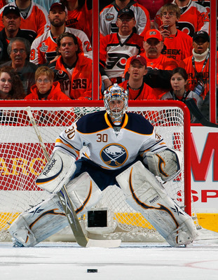 PHILADELPHIA, PA - APRIL 16:  Goalie Ryan Miller #30 of the Buffalo Sabres protects his goal against the Philadelphia Flyers in Game Two of the Eastern Conference Quarterfinals during the 2011 NHL Stanley Cup Playoffs at Wells Fargo Center on April 16, 20