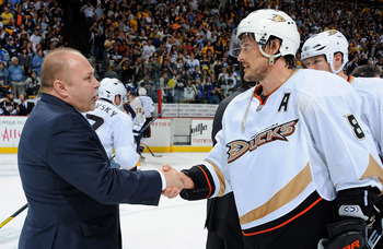 NASHVILLE, TN - APRIL 24:  Teemu Selane #8 of the Anaheim Ducks shakes hands with Barry Trotz, head coach of the Nashville Predators after Game Six of the Western Conference Quarterfinals during the 2011 NHL Stanley Cup Playoffs at Bridgestone Arena on Ap