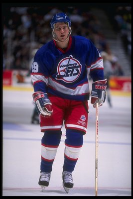 27 Jan 1995:  Center Nelson Emerson of the Winnipeg Jets looks on during a game against the Anaheim Mighty Ducks at Arrowhead Pond in Anaheim, California.  The Ducks won the game, 3-2. Mandatory Credit: Al Bello  /Allsport