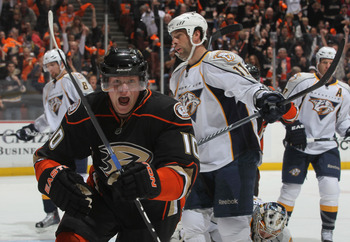 ANAHEIM, CA - APRIL 15:  Corey Perry #10 of the Anaheim Ducks celebrates after scoring a goal in the first period against the Nashville Predators in Game Two of the Western Conference Quarterfinals during the 2011 NHL Stanley Cup Playoffs at Honda Center
