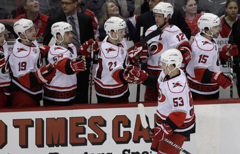 WASHINGTON, DC - MARCH 29:  Jeff Skinner #53 of the Carolina Hurricanes celelbrates with the bench after scoring against the Washington Capitalsduring the third period at the Verizon Center on March 29, 2011 in Washington, DC.  (Photo by Rob Carr/Getty Im