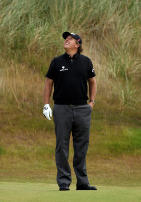 INVERNESS, SCOTLAND - JULY 08:  Phil Mickelson of the USA reacts on the 5th hole during the second round of The Barclays Scottish Open at Castle Stuart Golf Links on July 8, 2011 in Inverness, Scotland.  (Photo by Warren Little/Getty Images)