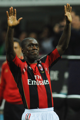 MILAN, ITALY - APRIL 16:  Clarence Seedorf of AC Milan celebrates after scoring the opening goal during the Serie A match between AC Milan and UC Sampdoria at Stadio Giuseppe Meazza on April 16, 2011 in Milan, Italy.  (Photo by Valerio Pennicino/Getty Ima