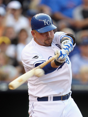 KANSAS CITY, MO - JULY 09:  Billy Butler #16 of the Kansas City Royals connects during the game against the Detroit Tigers on July 9, 2011 at Kauffman Stadium in Kansas City, Missouri.  (Photo by Jamie Squire/Getty Images)