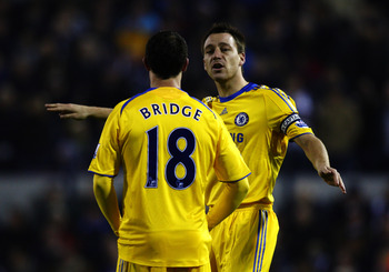 WEST BROMWICH, UNITED KINGDOM - NOVEMBER 15:  Wayne Bridge and John Terry of Chelsea during the Barclays Premier League match between West Bromwich Albion and Chelsea at The Hawthorns on November 15, 2008 in Birmingham, England  (Photo by Ryan Pierse/Gett