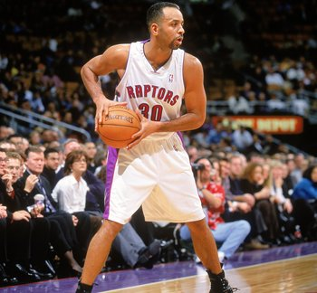 20 Nov 2000: Dell Curry #30 of the Toronto Raptors looks pass the ball during the game against the Charlotte Hornets at the Air Canada Centre in Toronto, Ontario, Canada. The Hornets defeated the Raptors 100-64.  NOTE TO USER: It is expressly understood t