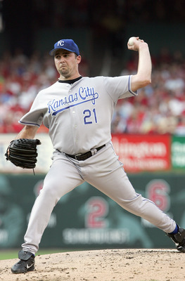 ST. LOUIS - JULY 1: Pitcher Mark Redman #21 of the Kansas City Royals winds back to pitch during the game against the St. Louis Cardinals on July 1,2006 at Busch Stadium in St. Louis, Missouri. The Kansas City Royals defeated the St.Louis Cardinals 8-7 in