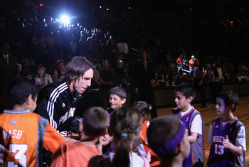 PHOENIX, AZ - APRIL 13:  Steve Nash #13 of the Phoenix Suns is introduced before the NBA game against the San Antonio Spurs at US Airways Center on April 13, 2011 in Phoenix, Arizona.  NOTE TO USER: User expressly acknowledges and agrees that, by download
