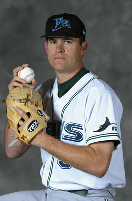 ST. PETERSBURG, FL - FEBRUARY 23:  Lance Carter #38 of the Tampa Bay Devil Rays poses for a portrait on February 23, 2004 at the Devil Rays spring training complex in St. Petersburg, Florida.  (Photo by Ezra Shaw/Getty Images)