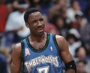 28 Nov 2001:  This is a close up of point guard Terrell Brandon #7 of the Minnesota Timberowlves. The picture was taken during the NBA game against the Los Angeles Clippers at the Staples Center in Los Angeles, California.  The Clippers crushed the Timber