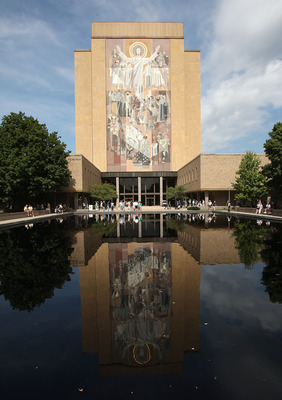 SOUTH BEND, IN - SETPEMBER 19: A general view of the 'Word of Life' mural, also known as 'Touchdown Jesus,' on the campus of Notre Dme University beofre a game between the Notre Dame Fighting Irish and the Michigan State Spartans on September 19, 2009 at