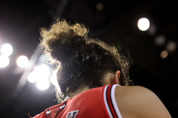 MIAMI, FL - MAY 24:  A detail of the hair of Joakim Noah #13 of the Chicago Bulls against the Miami Heat in Game Four of the Eastern Conference Finals during the 2011 NBA Playoffs on May 24, 2011 at American Airlines Arena in Miami, Florida. The Heat won