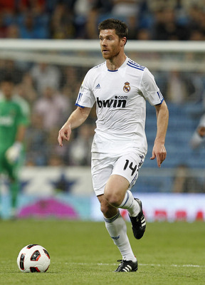 MADRID, SPAIN - MAY 10: Xabi Alonso of Real Madrid in action during the La Liga match between Real Madrid and Getafe at Estadio Santiago Bernabeu on May 10, 2011 in Madrid, Spain. (Photo by Angel Martinez/Getty Images)
