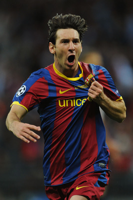LONDON, ENGLAND - MAY 28:  Lionel Messi of FC Barcelona celebrates scoring his teams second goal during the UEFA Champions League final between FC Barcelona and Manchester United FC at Wembley Stadium on May 28, 2011 in London, England.  (Photo by Jasper