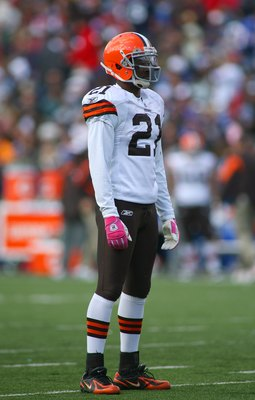 ORCHARD PARK, NY - OCTOBER 11:  Brodney Pool #21 of the Cleveland Browns looks on during a break in NFL game action against the Buffalo Bills at Ralph Wilson Stadium on October 11, 2009 in Orchard Park, New York. The Browns defeated the Bills 6-3. (Photo