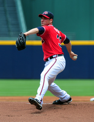 ATLANTA - JULY 3: Brandon Beachy #37 of the Atlanta Braves pitches against the Baltimore Orioles at Turner Field on July 3, 2011 in Atlanta, Georgia. (Photo by Scott Cunningham/Getty Images)
