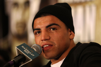 LAS VEGAS - DECEMBER 11:  Victor Ortiz answers questions during the post-fight news conference after his majority decision draw against Lamont Petersen during the super lightweight fight at Mandalay Bay Events Center on December 11, 2010 in Las Vegas, Nev