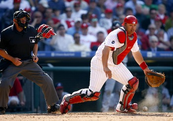 PHILADELPHIA, PA - APRIL 2:  Catcher Rod Barajas #2 of the Philadelphia Phillies in the field against the Atlanta Braves during a Opening Day game on April 2, 2007 at Citizens Bank Park in Philadelphia, Pennsylvania. (Photo by Rob Tringali/Getty Images)