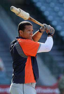 ANAHEIM, CA - JULY 04:  Victor Martinez #41 of the Detroit Tigers looks on prior to the start of the game against the Los Angeles Angels of Anaheim at Angel Stadium of Anaheim on July 4, 2011 in Anaheim, California.  (Photo by Jeff Gross/Getty Images)