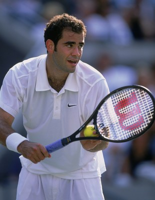9 Sep 2001:   Pete Sampras of the United States serving the ball during the US Open Match against Llevton Hewitt of Australia at the US National Tennis Center in Flushing, New York. Llevton Hewitt defeated Pete Sampras 7-6, 6-1, 6-1.Mandatory Credit: Jami