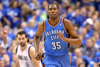 DALLAS, TX - MAY 25:  Kevin Durant #35 of the Oklahoma City Thunder runs back down court while taking on the Dallas Mavericks in the first quarter in Game Five of the Western Conference Finals during the 2011 NBA Playoffs at American Airlines Center on Ma