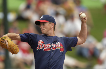 3 Mar 2002: Starting pitcher Tom Glavine #47 of the Atlanta Braves during the spring training game against the Tampa Bay Devil Rays at Disney's Wide World of Sports in Kissimmee, Florida. DIGITAL IMAGE. Mandatory Credit: M. David Leeds/Getty Images