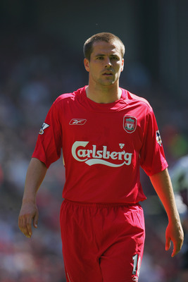 LIVERPOOL, ENGLAND - MAY 15: Michael Owen of Liverpool during the FA Barclaycard Premiership match between Liverpool and Newcastle United at Anfield on May 15, 2004 in Liverpool, England.  (Photo by Clive Brunskill/Getty Images)
