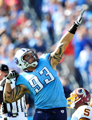 NASHVILLE, TN - NOVEMBER 21:  Jason Babin #93 of the Tennessee Titans reacts after sacking quarterback Donovan McNabb #5 of the Washington Redskins during the first half at LP Field on November 21, 2010 in Nashville, Tennessee.  (Photo by Grant Halverson/