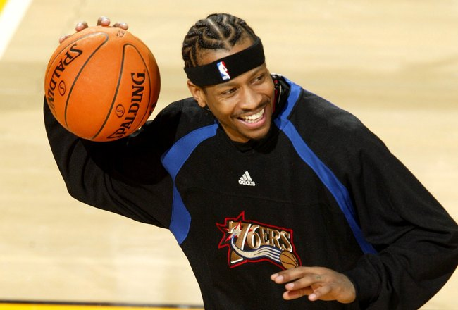 SEATTLE - NOVEMBER 15:  Allen Iverson #3 of the Philadelphia 76ers smiles while warming-up for the game against the Seattle Sonics on November 15, 2006 at Key Arena in Seattle, Washington. The 76ers defeated the Sonics 96-90. NOTE TO USER: User expressly