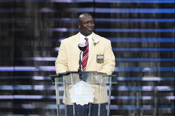 CANTON, OH - AUGUST 7: John Randle speaks to the crowd during the 2010 Pro Football Hall of Fame Enshrinement Ceremony at the Pro Football Hall of Fame Field at Fawcett Stadium on August 7, 2010 in Canton, Ohio. (Photo by Joe Robbins/Getty Images)