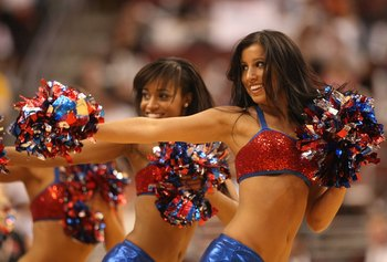 PHILADELPHIA - APRIL 30:  The Philadelphia 76ers cheerleaders perform against the Orlando Magic during  Game Six of the Eastern Conference Quarterfinals at Wachovia Center on April 30, 2009 in Philadelphia, Pennsylvania. NOTE TO USER: User expressly ackno