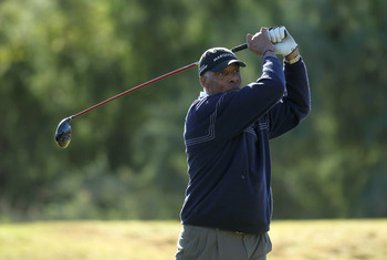 LA QUINTA, CA - JANUARY 21: Former NBA superstar Julius Erving hits his tee shot on the 16th hole during round three of the Bob Hope Classic at the Nicklaus Private Course at PGA West on January 21, 2011 in La Quinta, California.  (Photo by Stephen Dunn/G
