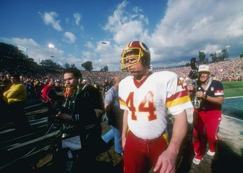 30 Jan 1983:  Running back John Riggins #44 of the Washington Redskins looks on during the Super Bowl XVII against the Miami Dolphins at the Rose Bowl in Pasadena, California.  The Redskins won the game, 27-17. Mandatory Credit: Allsport  /Allsport