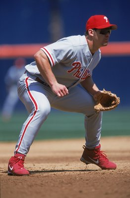 26 Apr 2001:  Scott Rolen #17 of the Philadelphia Phillies is ready in the infield during the game against the San Diego Padres at Qualcomm Stadium in San Diego, California. The Padres defeated the Phillies 11-0.Mandatory Credit: Jeff Gross  /Allsport