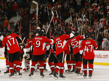OTTAWA, CANADA - APRIL 07:  The Ottawa Senators salute the crowd after a victory over the Montreal Canadiens in a game at Scotiabank Place on April 7, 2011 in Ottawa, Canada.  (Photo by Phillip MacCallum/Getty Images)