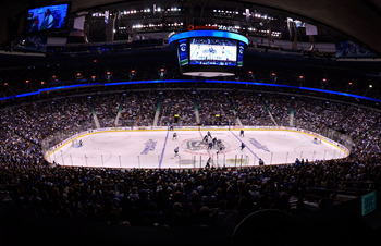 VANCOUVER, CANADA - MAY 24:   A general view of the opening faceoff of Game Five of the Western Conference Finals between the San Jose Sharks and the Vancouver Canucks during the 2011 Stanley Cup Playoffs at Rogers Arena on May 24, 2011 in Vancouver, Brit