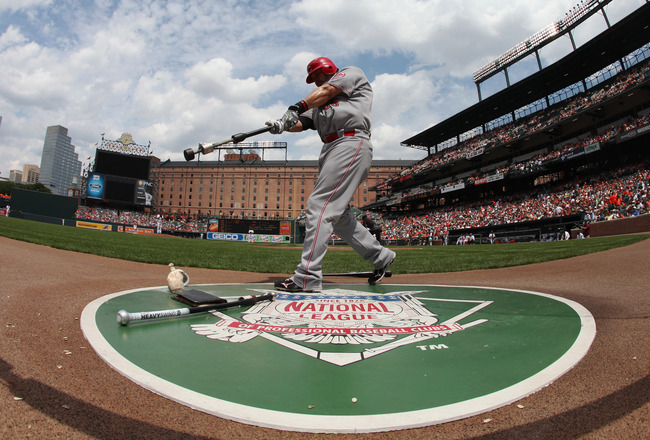 BALTIMORE, MD - JUNE 26: Ramon Hernandez #55 of the Cincinnati Reds waits to bat against the Baltimore Orioles at Oriole Park at Camden Yards on June 26, 2011 in Baltimore, Maryland.  (Photo by Rob Carr/Getty Images)